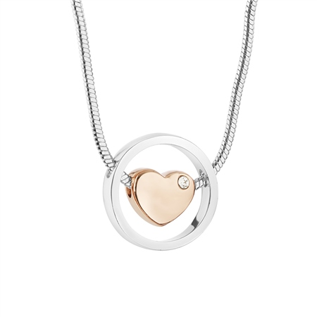 Silver and Rose Gold Plated Crystal Heart Pendant  - Click to view a larger image