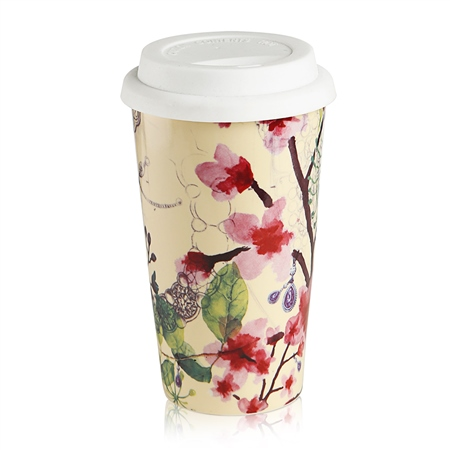 Cream Floral Mug  - Click to view a larger image