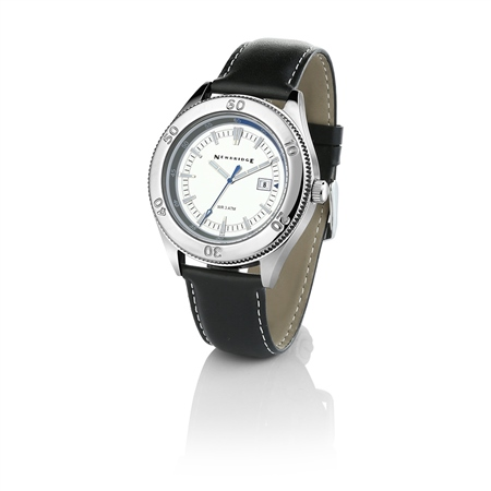 Gents Watch Silver Dial Black Strap  - Click to view a larger image