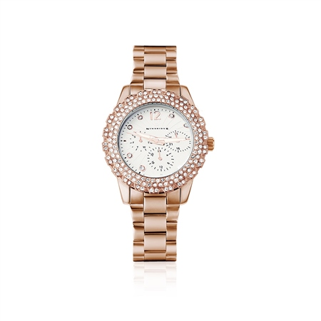 Rose Goldplate Watch Clear Stones  - Click to view a larger image