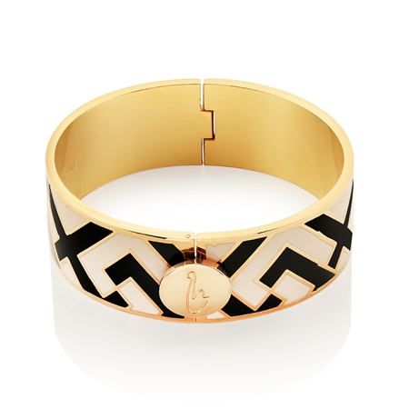 Champagne Plate Black Beige Bangle  - Click to view a larger image