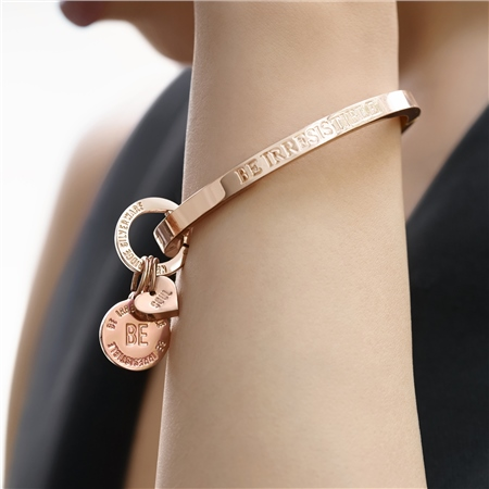Rose Gold Plated Be Irresistible Bangle  - Click to view a larger image