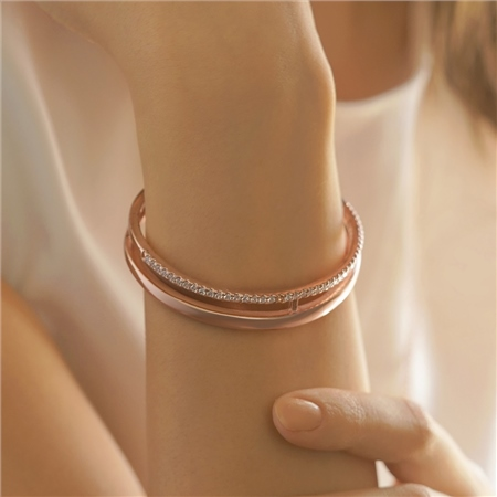 Rose Gold Plated CZ Bangle   - Click to view a larger image