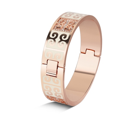 Rose Goldplate Cream Enamel Bangle  - Click to view a larger image