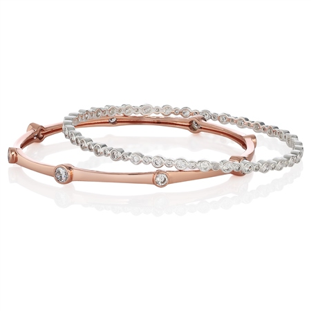 Set of 2 Bangles Clear Stones 65mm  - Click to view a larger image