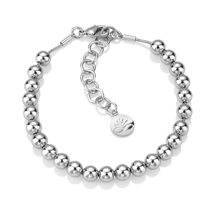 Rhodium plate Small Bead Bracelet  - Click to view a larger image
