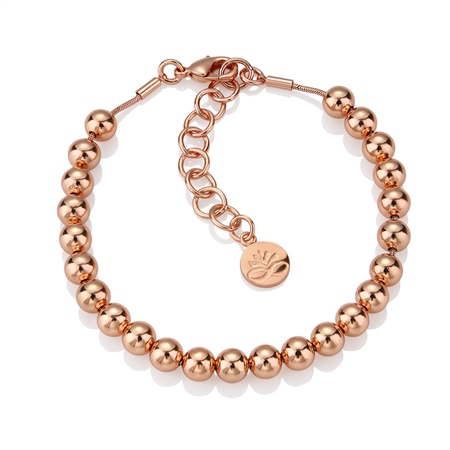 Rose Gold Plate Small Bead Bracelet  - Click to view a larger image
