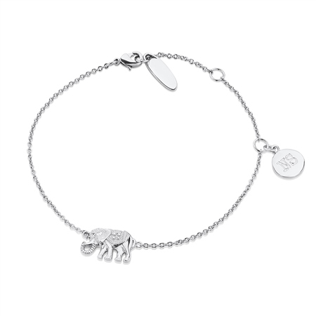 Silver Plate Bracelet With Elephant