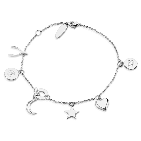 Silverplate Bracelet Multi Charms  - Click to view a larger image