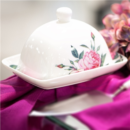 Rose Collection Butter Dish  - Click to view a larger image