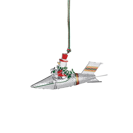Snowman in Rocket Decoration  - Click to view a larger image