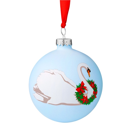 Swan with Wreath Bauble Decoration  - Click to view a larger image