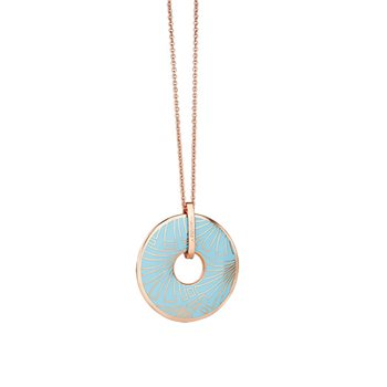 Rose Goldplate Long Pendant Blue  - Click to view a larger image