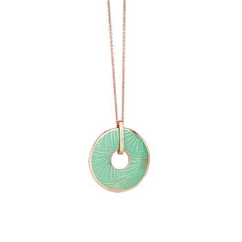 Rose Goldplate Long Pendant Green  - Click to view a larger image