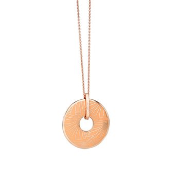 Rose Goldplate Long Pendant Orange  - Click to view a larger image