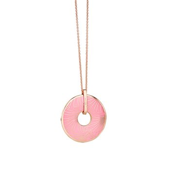 Rose Goldplate Long Pendant Pink  - Click to view a larger image