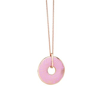 Rose Goldplate Long Pendant Purple  - Click to view a larger image
