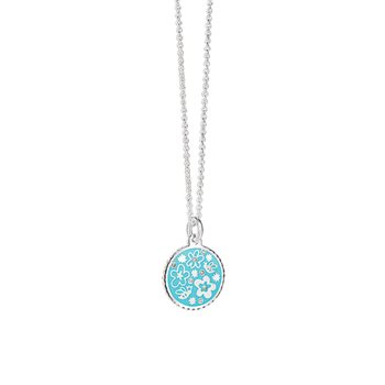 Silverplate Floral Pendant Blue  - Click to view a larger image