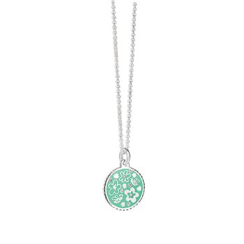 Silverplate Floral Pendant Green  - Click to view a larger image