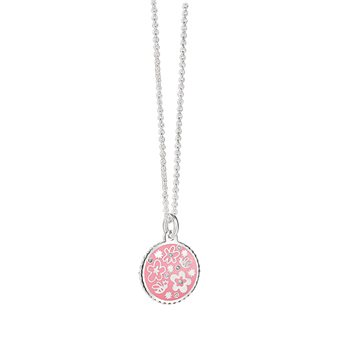 Silverplate Floral Pendant Pink  - Click to view a larger image