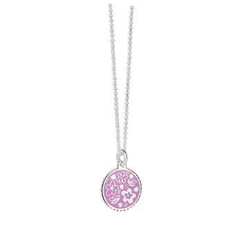 Silverplate Floral Pendant Purple  - Click to view a larger image