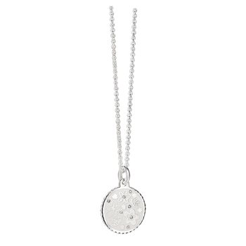 Silverplate Floral Pendant White  - Click to view a larger image