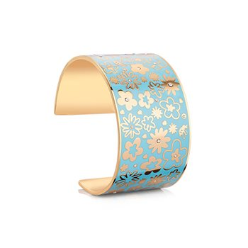 Champagne Plate Floral Bangle Blue  - Click to view a larger image