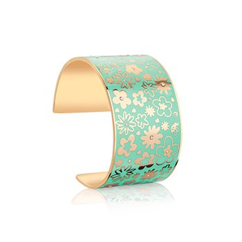 Champagne Plate Floral Bangle Green  - Click to view a larger image