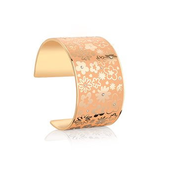 Champagne Plate Floral Bangle Orange  - Click to view a larger image
