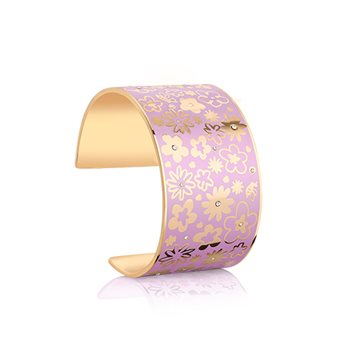 Champagne Plate Floral Bangle Purple  - Click to view a larger image