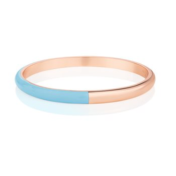 Rose Gold Plated Half Enamel Bangle Blue  - Click to view a larger image