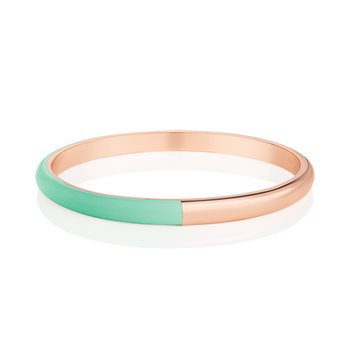 Rose Gold Plated Half Enamel Bangle Green  - Click to view a larger image