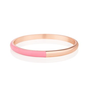 Rose Gold Plated Half Enamel Bangle Pink  - Click to view a larger image