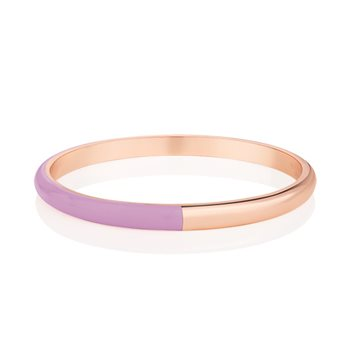 Rose Gold Plated Half Enamel Bangle Purple  - Click to view a larger image