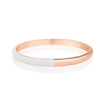 Rose Gold Plated Half Enamel Bangle White  - Click to view a larger image
