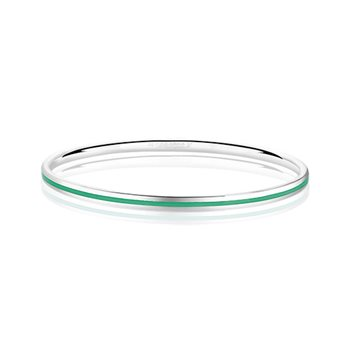 Silverplate Enamel Bangle Green  - Click to view a larger image