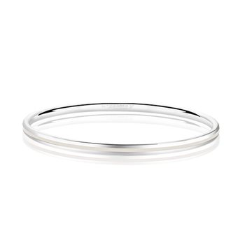 Silverplate Enamel Bangle White  - Click to view a larger image
