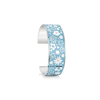 Silverplate Floral Bangle Blue Small  - Click to view a larger image