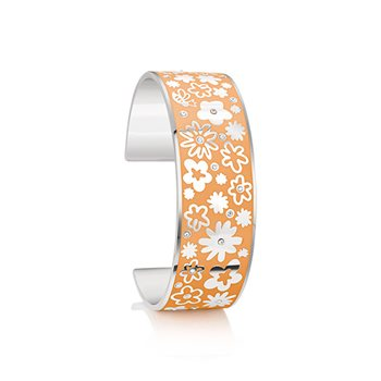 Silverplate Floral Bangle Orange Small  - Click to view a larger image