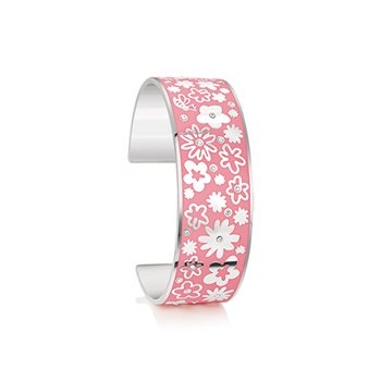 Silverplate Floral Bangle Pink Sml  - Click to view a larger image