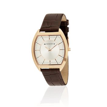 Mens Rectangular Watch With Brown Leather Strap  - Click to view a larger image