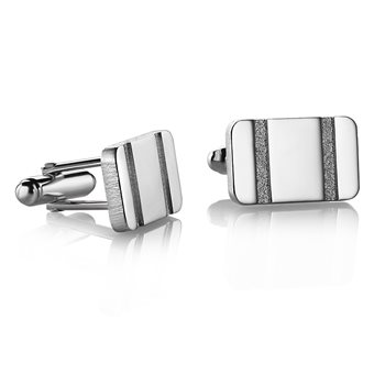 Rectangle Etched Cufflinks V  - Click to view a larger image