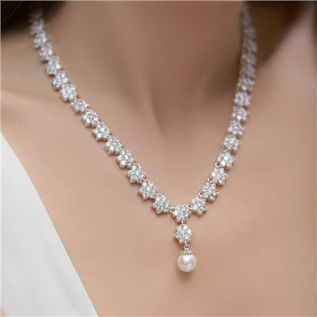 Cubic Zirconia Cluster Floral Necklace 1