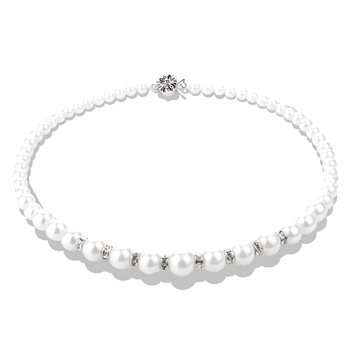 Pearl with Crystal Necklace  - Click to view a larger image