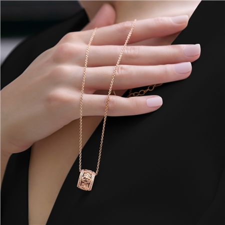 Rose Gold Lotus Pendant Clear Stones  - Click to view a larger image