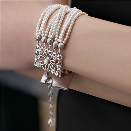 Pearl Multi Strand Bracelet  - Click to view a larger image