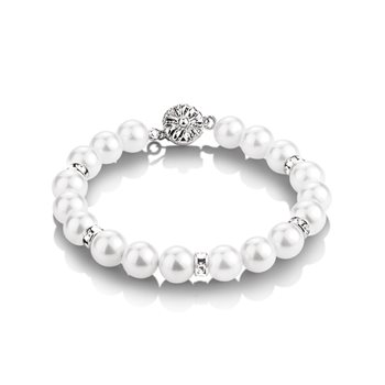 Pearl with Crystal Bracelet  - Click to view a larger image