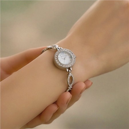 Ladies Watch Link Bracelet Double Clasp  - Click to view a larger image