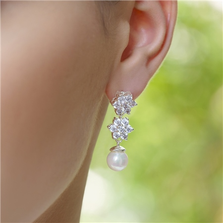 Cubic Zirconia Cluster Floral Earrings  - Click to view a larger image