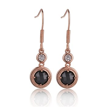 Guinness Rose Goldplated Blk & Clear Stone Earrings   - Click to view a larger image